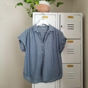 [GAP] Chambray Blue Gray Short Sleeve Button Up